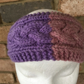 Pink knitted cable headband, knitted earwarmers, purple braided headband, knitte