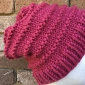 Knitted pink beanie, ladies pink beanie, winter beanie, ladies beanie, chunky be