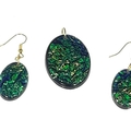 Green Hues Pendant and Earrings Set