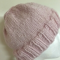 Knitted pink beanie, messy bun hat, ladies beanie, alpaca pink beanie, pink pony