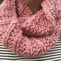Knitted pink scarf, pink infinity scarf, pink cowl, snood, ladies scarf, ladies