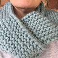 Knitted blue infinity scarf, blue cowl, blue chunky scarf, ladies scarf, ladies