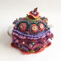 Unique 4-6 cup embellished crochet teacosy with multiple colours, crochet, beads
