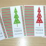 Set 4 Merry Christmas cards - Christmas trees