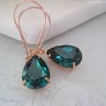 Emerald Green Crystal Earrings /Bridesmaid Earrings /Rose Gold Drops /Wedding Ea