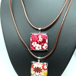 Worked Metal and Ceramic Bead Pendant with leather necklace