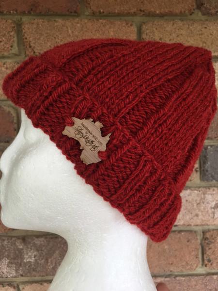 Knitted red beanie, mens beanie, ladies beanie, red alpaca beanie, scarlet beani