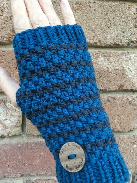 Knitted blue Handwarmers, grey Fingerless gloves, striped handwarmers, wristwarm