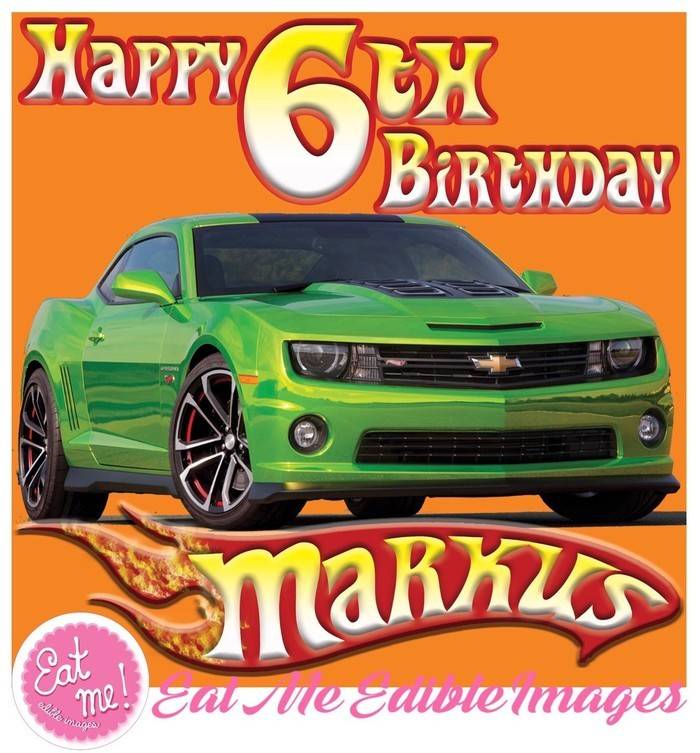 Hot Wheels Personalised Edible Image Real Icing Cake Topper Large 20