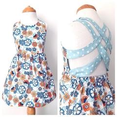 Size 2 - Summer Dress - Blue  - Cotton - Retro - Mustard - Floral