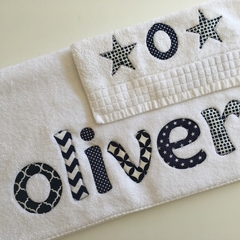 Boys Personalised / Name Towel & Face Washer Set