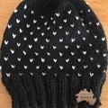 Knitted black fair isle beanie, black hat, mens beanie, ladies black beanie, bla