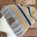 Handmade knitted grey beanie, mustard slouch, mens striped beanie, ladies grey b