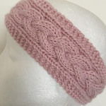 Pink knitted cable headband, knitted earwarmers, pink braided headband, knitted