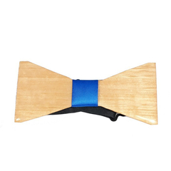 Elegant Wood Bow Tie with Blue Band