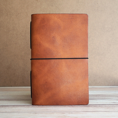 LARGE PIONEER LEATHER JOURNAL - HORWEEN ENGLISH TAN