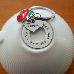 Custom Teacher Gift, Keyring,  Personalised Gift,Hand Stamped,Thank You