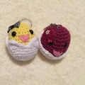 Chicken in egg Bag buddies/Key chains