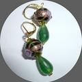 Green wedding cake earrings.