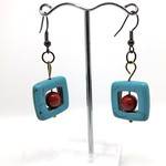 Blue and Red, square and ball earrings