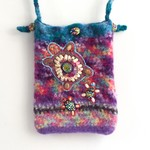 Unique embellished felt phone/hands free pouch/bag. Turtle. Rainbow. Crossbody.
