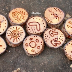 Australian Aboriginal Symbols Hand Engraved Reclaimed Wood Rounds