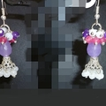 Pink, lavender,purple white earrings