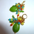 Harvest colours/ Peridot,blue Chalcedony, Globe turquoise and Mexican opal earri