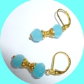 Chalcedony and gold earrings.