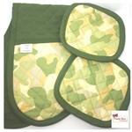 Green Camouflage | Pot Mitt and Holder Set | double mitt potholders