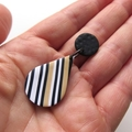 Teardrop black white ecru drop stripe earrings