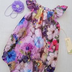 Emma Floral Playsuit Size 000, 00, 0 & 1