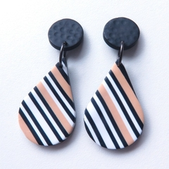 Teardrop black white ecru drop stripe earrings