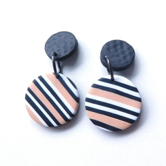 Mini Disc black white ecru drop stripe polymer clay earrings
