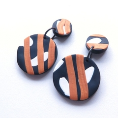 Disc black white gold drop polymer clay earrings by sasha and max