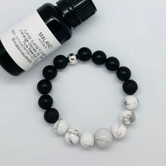 Aroma Diffuser Bracelet - Howlite & Matte Black Onyx. Sml, Med, Lge, XL.