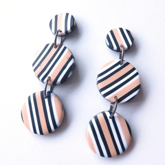 Multi disc black white ecru drop stripe polymer clay earrings