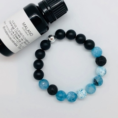 Aroma Diffuser Bracelet - Aqua Blue Agate. Sml, Med, Lge, XL.