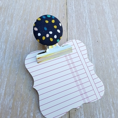Navy Teardrop Magnetic Bulldog Clip