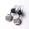Dotty black white cream drop stripe polymer clay earrings