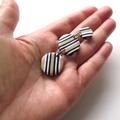 Multi disc black white ecru drop stripe polymer clay earrings