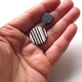 Mini Disc black white ecru drop stripe polymer clay earrings