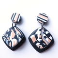 Abstract Diamond stripe black and white drop polymer clay earrings