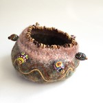 Unique round embellished felt  jewellery  bowl. Brown, embroidery, painted beads