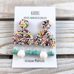 Statement  earrings, Polymer clay earrings, in rainbow swirl turquoise and white