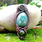 Malachite and Pyrite with Olive Jade Polymer Clay Pendant
