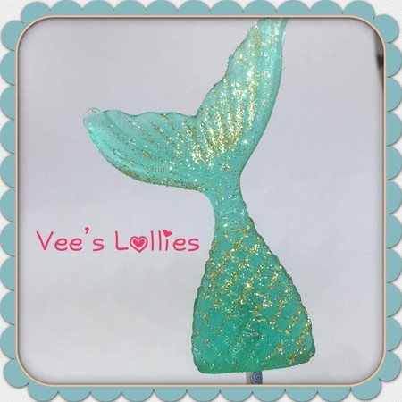 Mermaid Tail Lollipops pack of 10 - Aqua, pink or purple with edible glitter