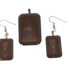 Earrings and Pendant Set in Brown