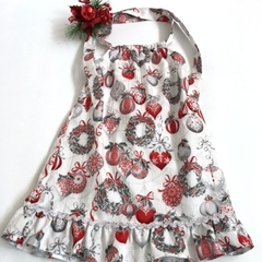 Size 4 - 'Silver and Red Baubles' Christmas Dress