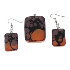 Earrings and Pendant Set with Orange and Black Swirl.